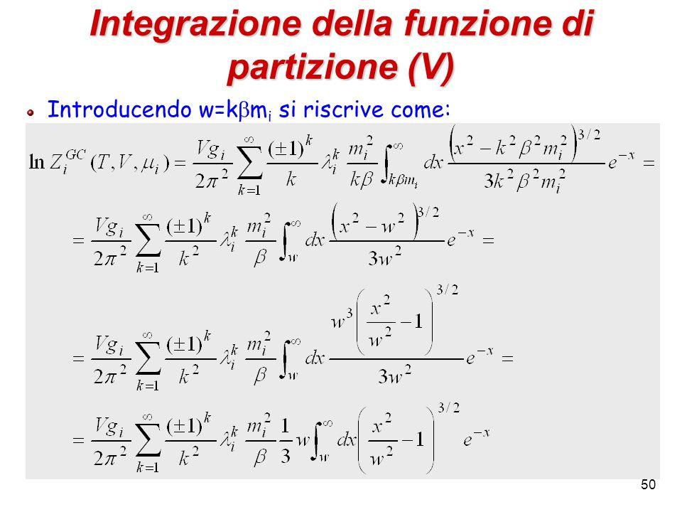 50 Integrazione della funzione di partizione (V) Introducendo w=k  m i si riscrive come: