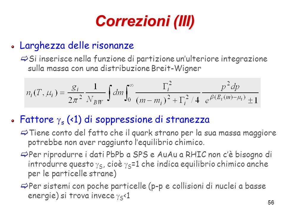 56 Correzioni (III) Larghezza delle risonanze  Si inserisce nella funzione di partizione un'ulteriore integrazione sulla massa con una distribuzione