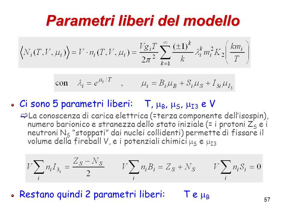 57 Parametri liberi del modello Ci sono 5 parametri liberi:T,  B,  S,  I3 e V  La conoscenza di carica elettrica (=terza componente dell'isospin),