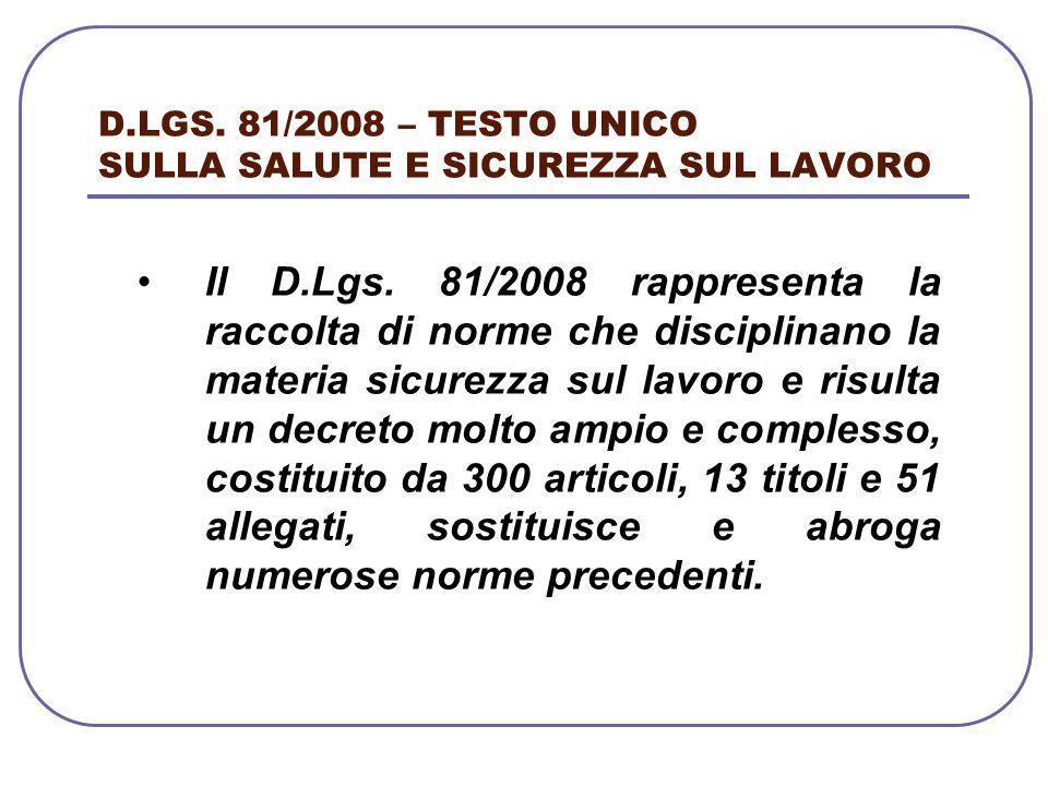 D.LGS. 81/2008 – TESTO UNICO SULLA SALUTE E SICUREZZA SUL LAVORO Il D.Lgs. 81/2008 rappresenta la raccolta di norme che disciplinano la materia sicure