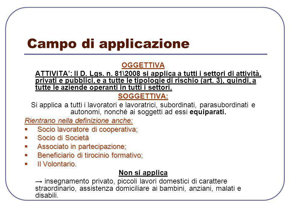 Campo di applicazione OGGETTIVA ATTIVITA': Il D. Lgs. n. 81\2008 si applica a tutti i settori di attività, privati e pubblici, e a tutte le tipologie