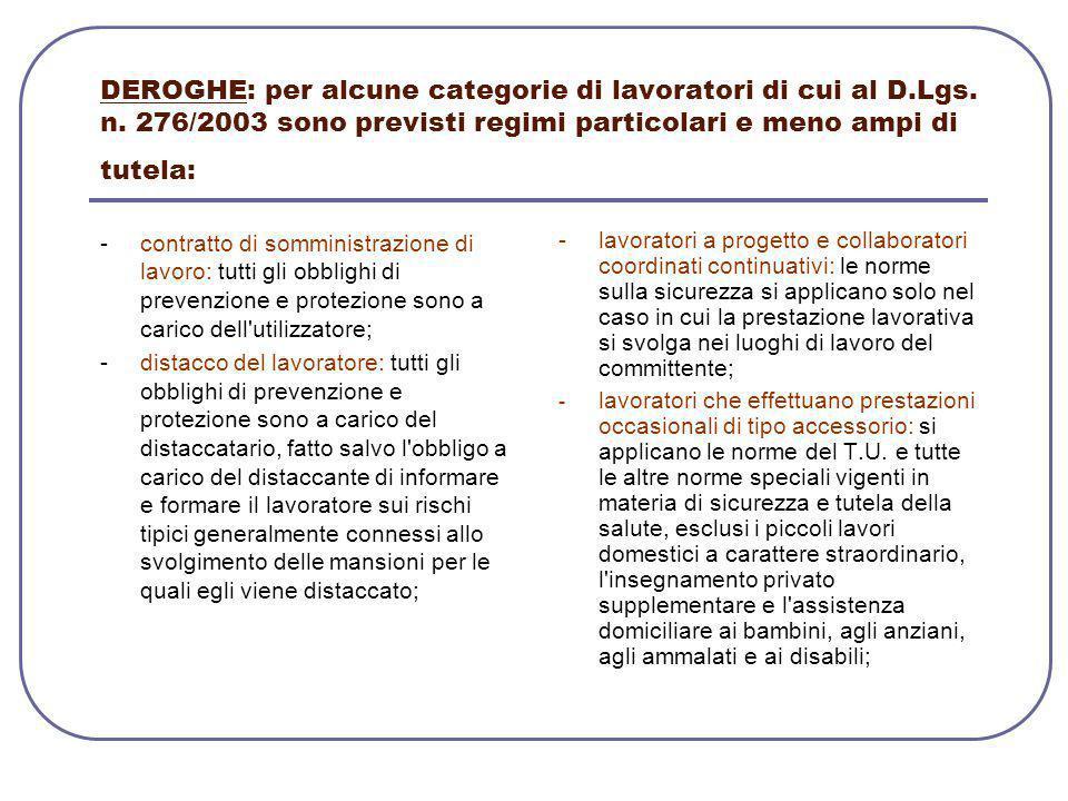 DEROGHE: per alcune categorie di lavoratori di cui al D.Lgs. n. 276/2003 sono previsti regimi particolari e meno ampi di tutela: - contratto di sommin
