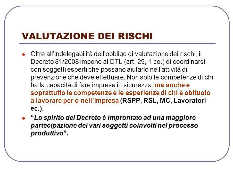 VALUTAZIONE DEI RISCHI Oltre all'indelegabilità dell'obbligo di valutazione dei rischi, il Decreto 81/2008 impone al DTL (art. 29, 1 co.) di coordinar