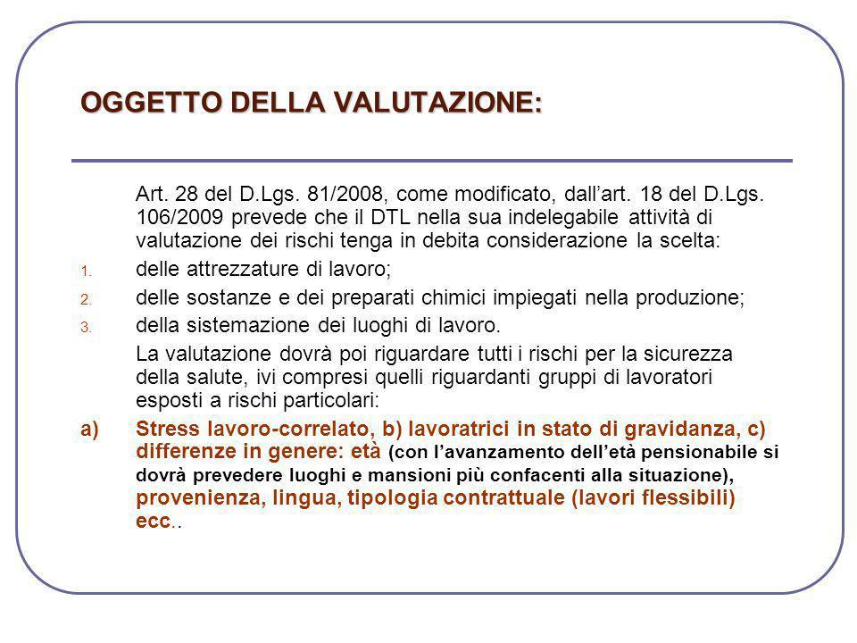 OGGETTO DELLA VALUTAZIONE: Art. 28 del D.Lgs. 81/2008, come modificato, dall'art. 18 del D.Lgs. 106/2009 prevede che il DTL nella sua indelegabile att