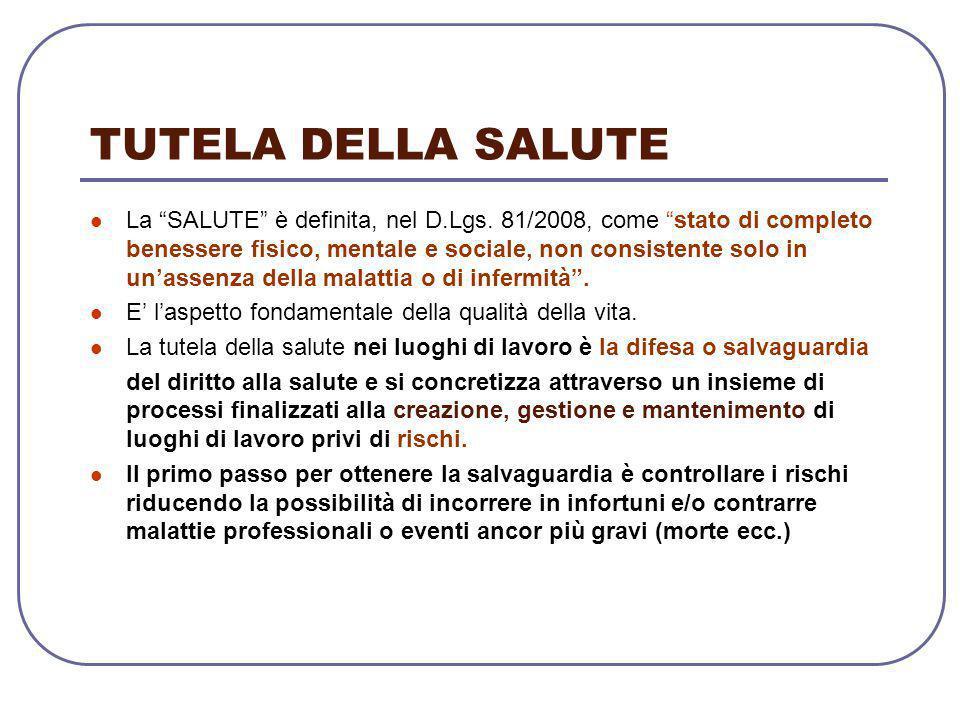 """TUTELA DELLA SALUTE La """"SALUTE"""" è definita, nel D.Lgs. 81/2008, come """"stato di completo benessere fisico, mentale e sociale, non consistente solo in u"""