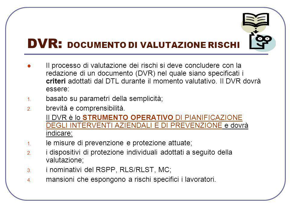 DVR: DOCUMENTO DI VALUTAZIONE RISCHI Il processo di valutazione dei rischi si deve concludere con la redazione di un documento (DVR) nel quale siano s