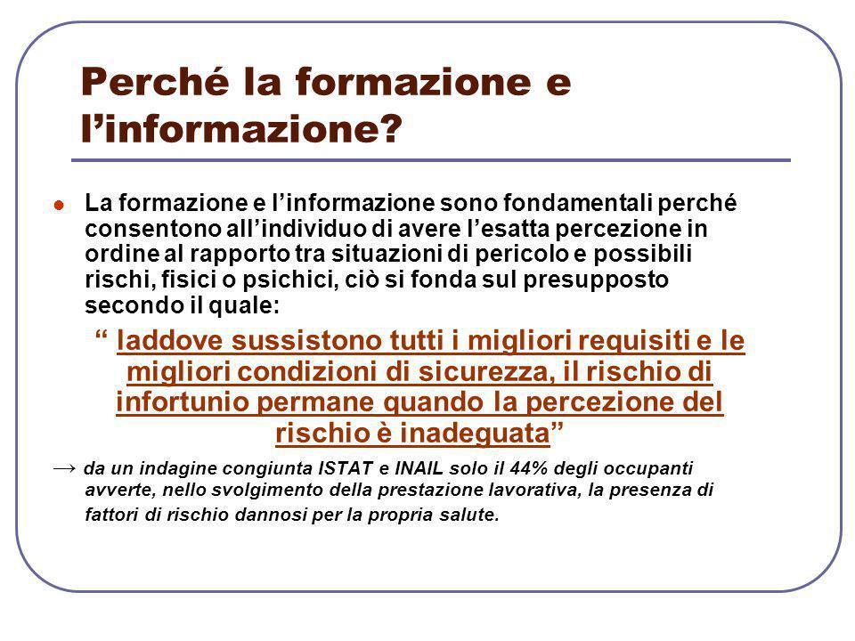 Perché la formazione e l'informazione? La formazione e l'informazione sono fondamentali perché consentono all'individuo di avere l'esatta percezione i
