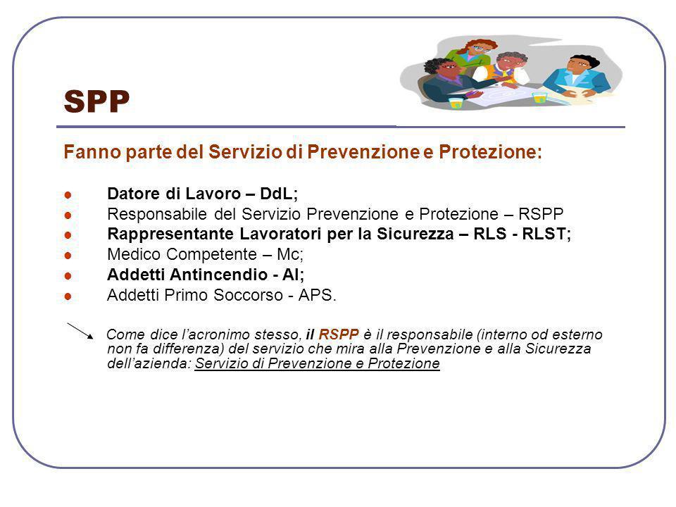 SPP Fanno parte del Servizio di Prevenzione e Protezione: Datore di Lavoro – DdL; Responsabile del Servizio Prevenzione e Protezione – RSPP Rappresent