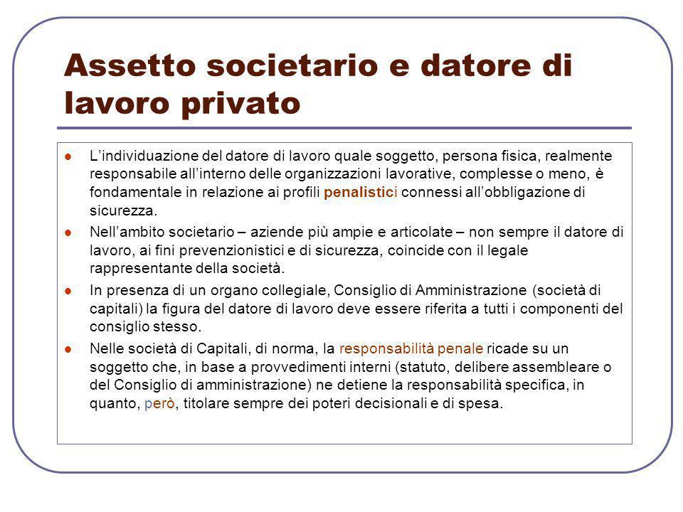 Assetto societario e datore di lavoro privato L'individuazione del datore di lavoro quale soggetto, persona fisica, realmente responsabile all'interno