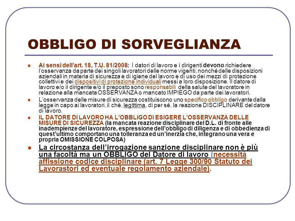 OBBLIGO DI SORVEGLIANZA Ai sensi dell'art. 18, T.U. 81/2008: Ai sensi dell'art. 18, T.U. 81/2008: I datori di lavoro e i dirigenti devono richiedere l