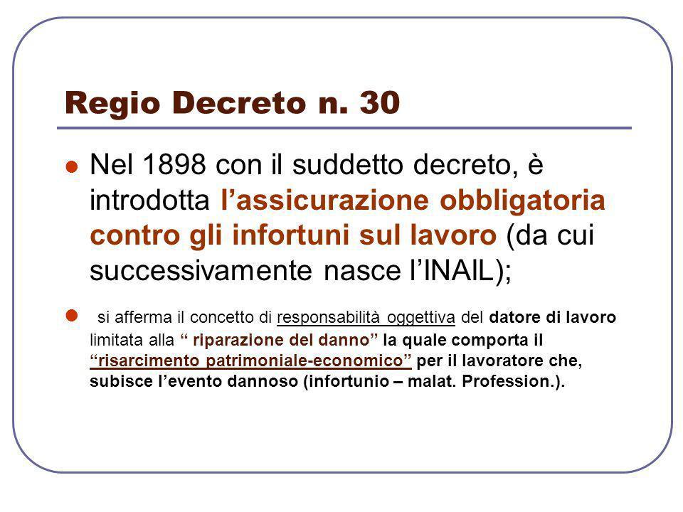 Regio Decreto n. 30 Nel 1898 con il suddetto decreto, è introdotta l'assicurazione obbligatoria contro gli infortuni sul lavoro (da cui successivament