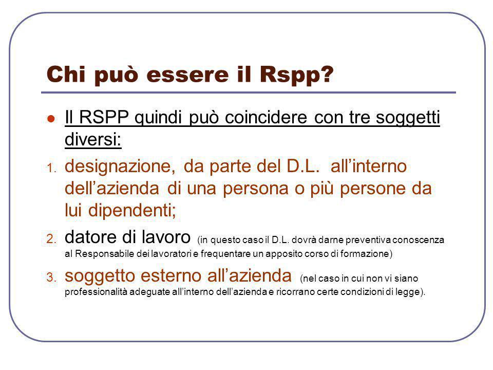 Chi può essere il Rspp? Il RSPP quindi può coincidere con tre soggetti diversi: 1. designazione, da parte del D.L. all'interno dell'azienda di una per