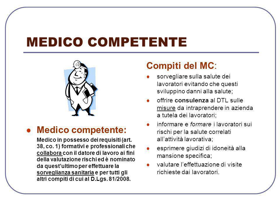 MEDICO COMPETENTE Medico competente: Medico in possesso dei requisiti (art. 38, co. 1) formativi e professionali che collabora con il datore di lavoro