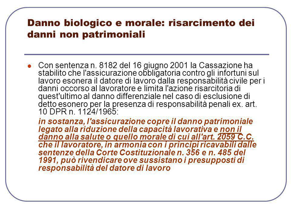 Danno biologico e morale: risarcimento dei danni non patrimoniali Con sentenza n. 8182 del 16 giugno 2001 la Cassazione ha stabilito che l'assicurazio