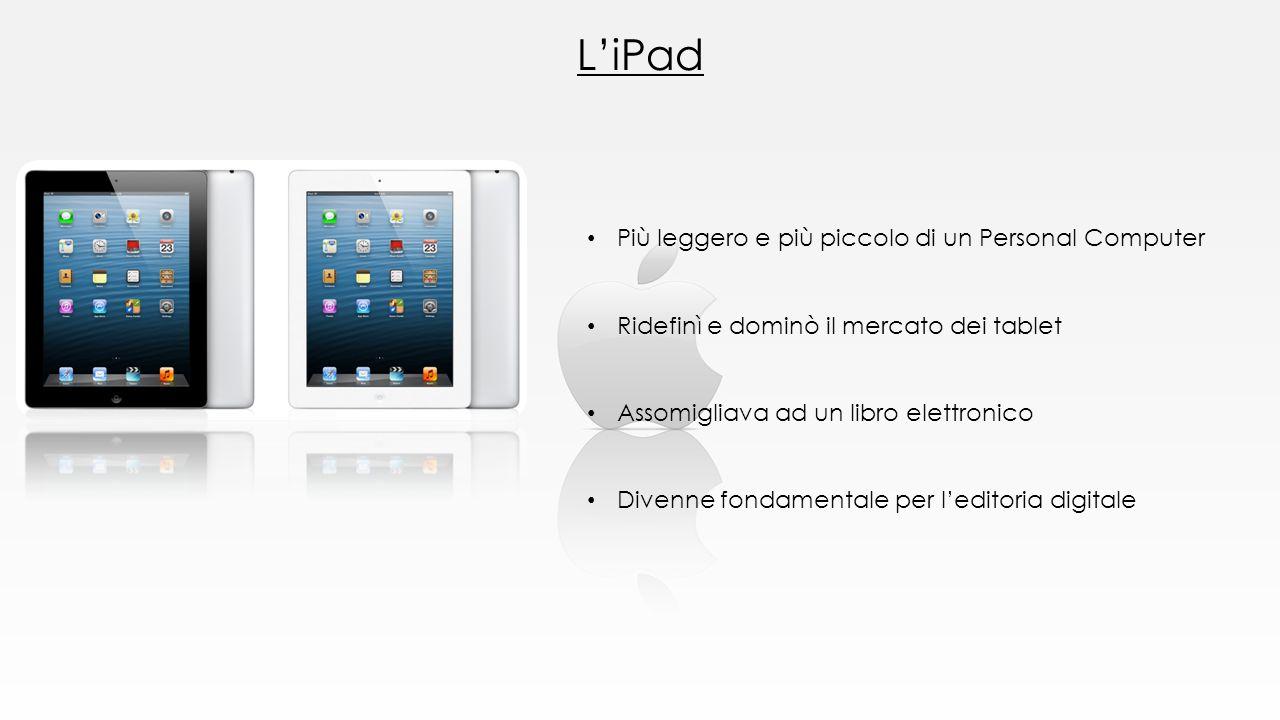L'iPad Più leggero e più piccolo di un Personal Computer Ridefinì e dominò il mercato dei tablet Assomigliava ad un libro elettronico Divenne fondamen