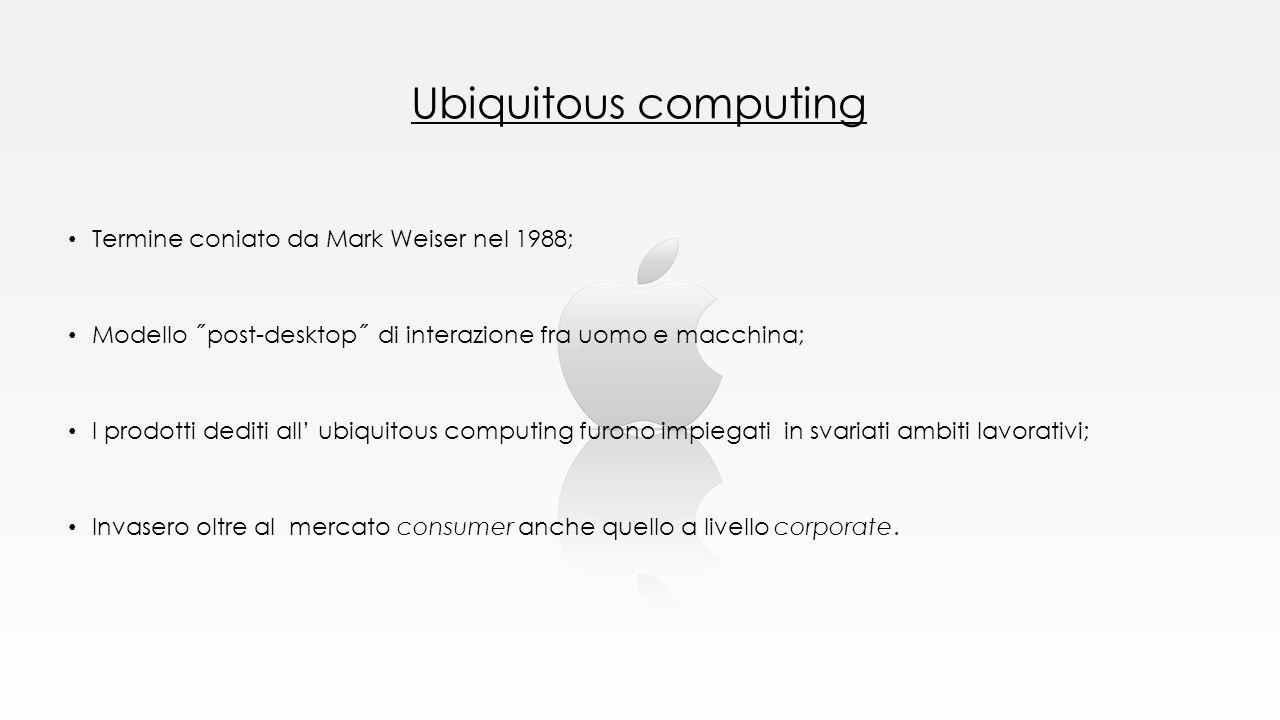 Ubiquitous computing Termine coniato da Mark Weiser nel 1988; Modello ˝post-desktop˝ di interazione fra uomo e macchina; I prodotti dediti all' ubiqui