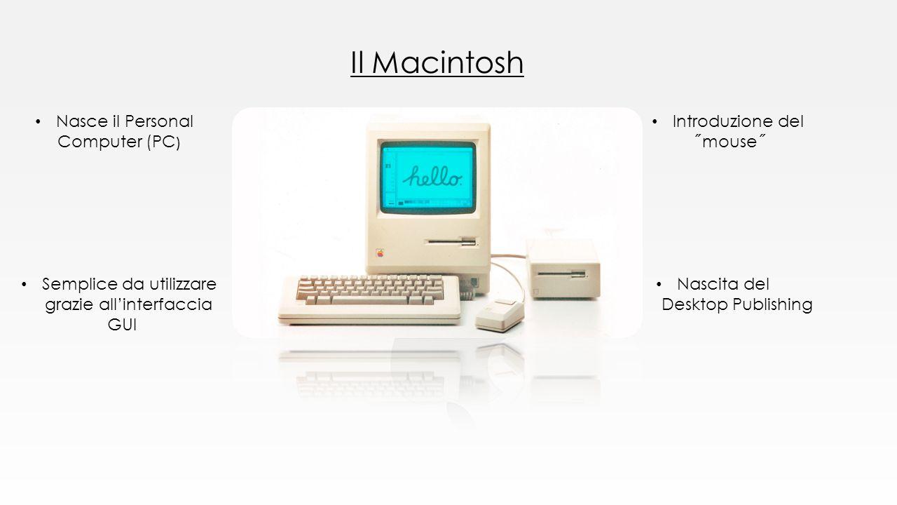 Il Macintosh Nasce il Personal Computer (PC ) Semplice da utilizzare grazie all'interfaccia GUI Introduzione del ˝mouse˝ Nascita del Desktop Publishin