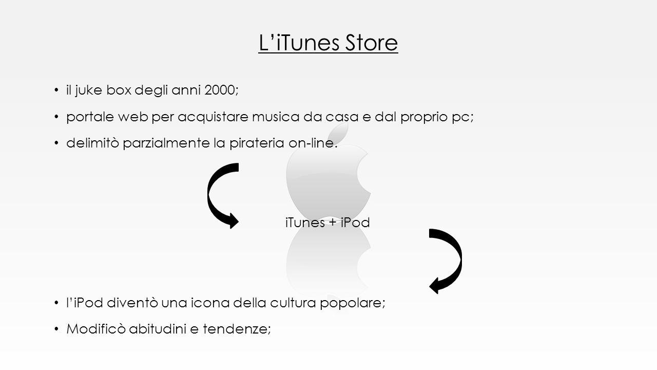L'iTunes Store il juke box degli anni 2000; portale web per acquistare musica da casa e dal proprio pc; delimitò parzialmente la pirateria on-line. iT