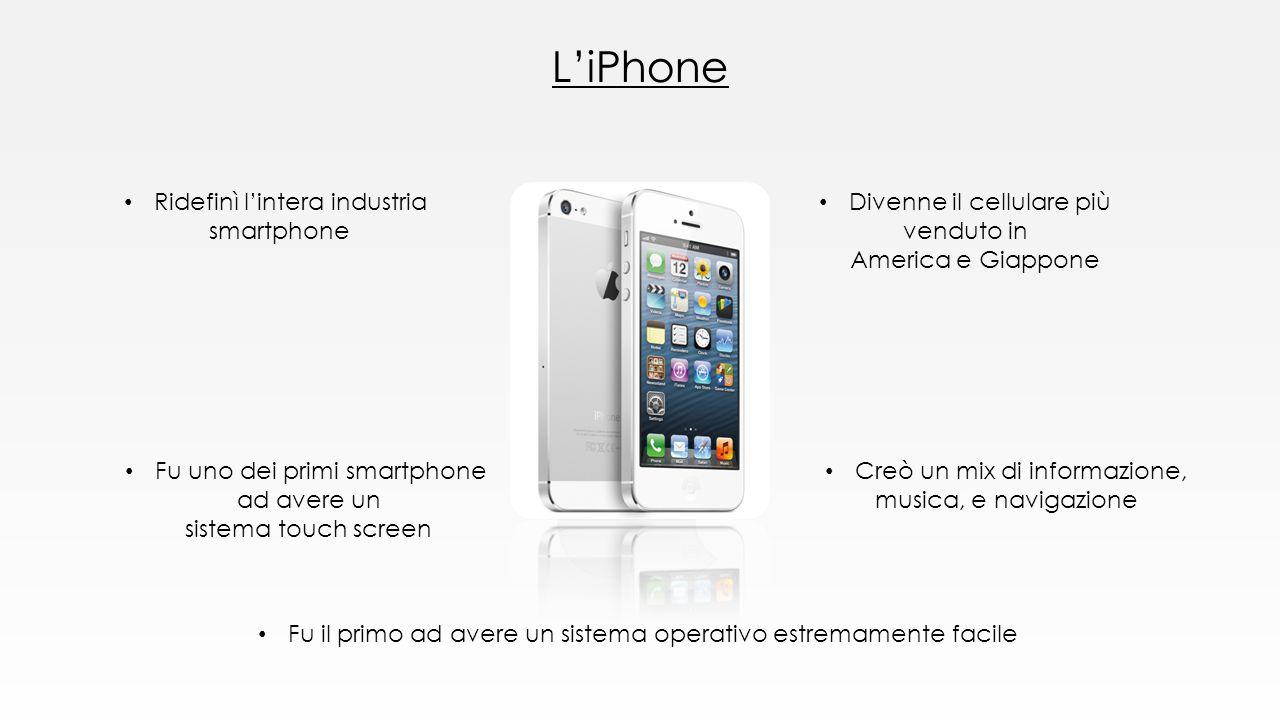 L'iPhone Ridefinì l'intera industria smartphone Divenne il cellulare più venduto in America e Giappone Creò un mix di informazione, musica, e navigazi