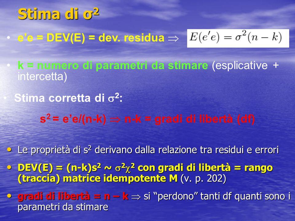 Stima di σ 2 Le proprietà di s 2 derivano dalla relazione tra residui e errori Le proprietà di s 2 derivano dalla relazione tra residui e errori DEV(E