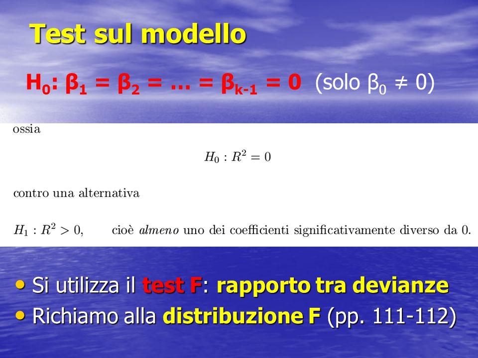 Test sul modello Si utilizza il test F: rapporto tra devianze Si utilizza il test F: rapporto tra devianze Richiamo alla distribuzione F (pp. 111-112)