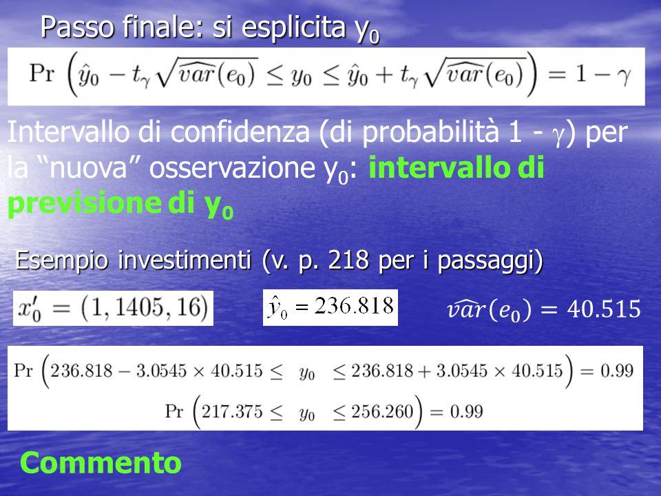Passo finale: si esplicita y 0 Intervallo di confidenza (di probabilità 1 -  ) per la nuova osservazione y 0 : intervallo di previsione di y 0 Esempio investimenti (v.