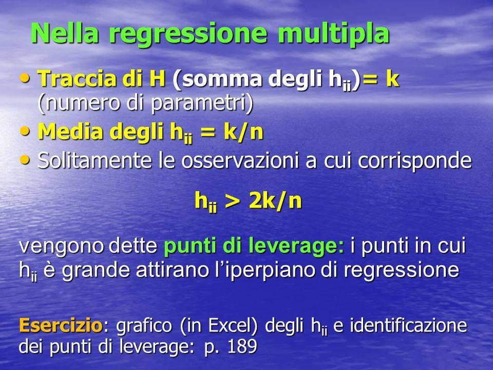 Analisi dei residui Modello vero : Modello vero : Modello stimato Modello stimato Pertanto: Pertanto: dove I è la matrice Identità Quindi: e = (I-H)y = (I-H)   le proprietà di e dipendono da quelle della matrice M=I-H