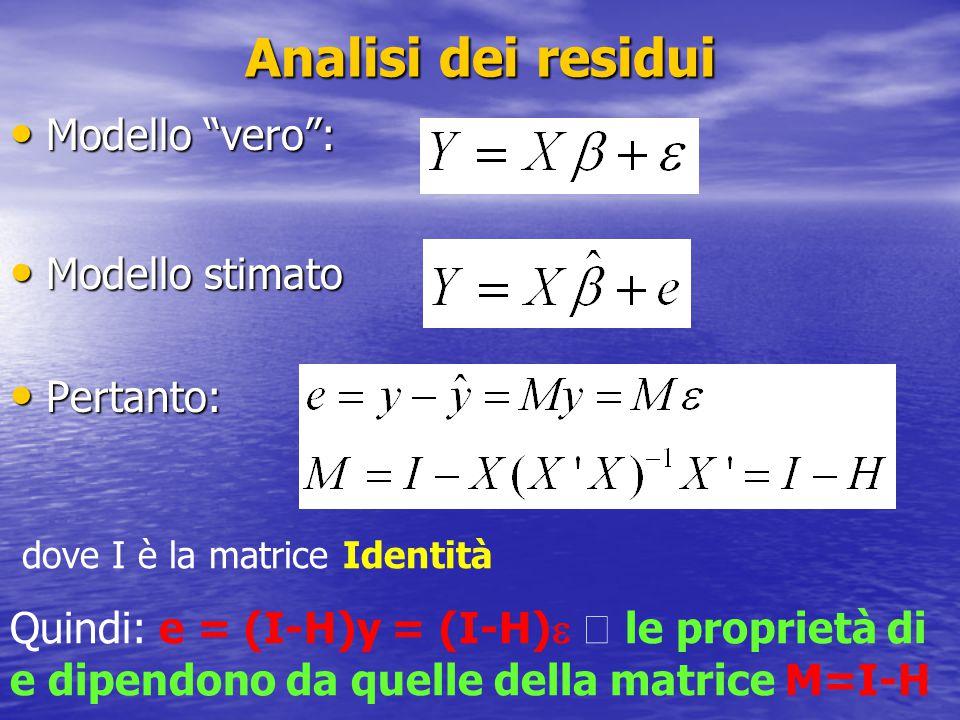 """Analisi dei residui Modello """"vero"""": Modello """"vero"""": Modello stimato Modello stimato Pertanto: Pertanto: dove I è la matrice Identità Quindi: e = (I-H)"""