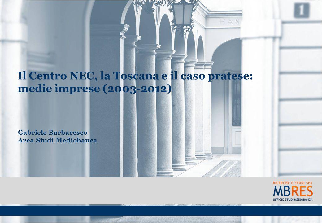 Il Centro NEC, la Toscana e il caso pratese: medie imprese (2003-2012) Gabriele Barbaresco Area Studi Mediobanca Prato, 13 ottobre 2014