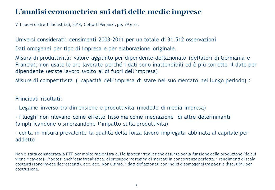 9 L'analisi econometrica sui dati delle medie imprese V. I nuovi distretti industriali, 2014, Coltorti Venanzi, pp. 79 e ss. Universi considerati: cen