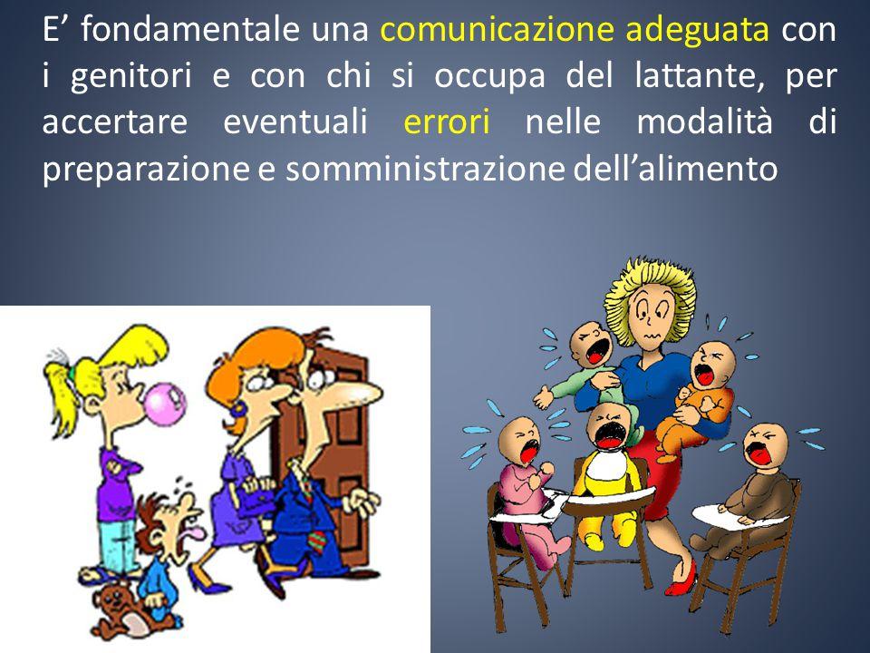 E' fondamentale una comunicazione adeguata con i genitori e con chi si occupa del lattante, per accertare eventuali errori nelle modalità di preparazi