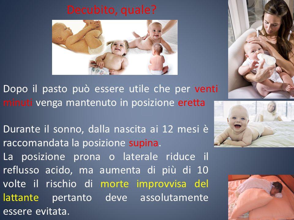 Durante il sonno, dalla nascita ai 12 mesi è raccomandata la posizione supina. La posizione prona o laterale riduce il reflusso acido, ma aumenta di p