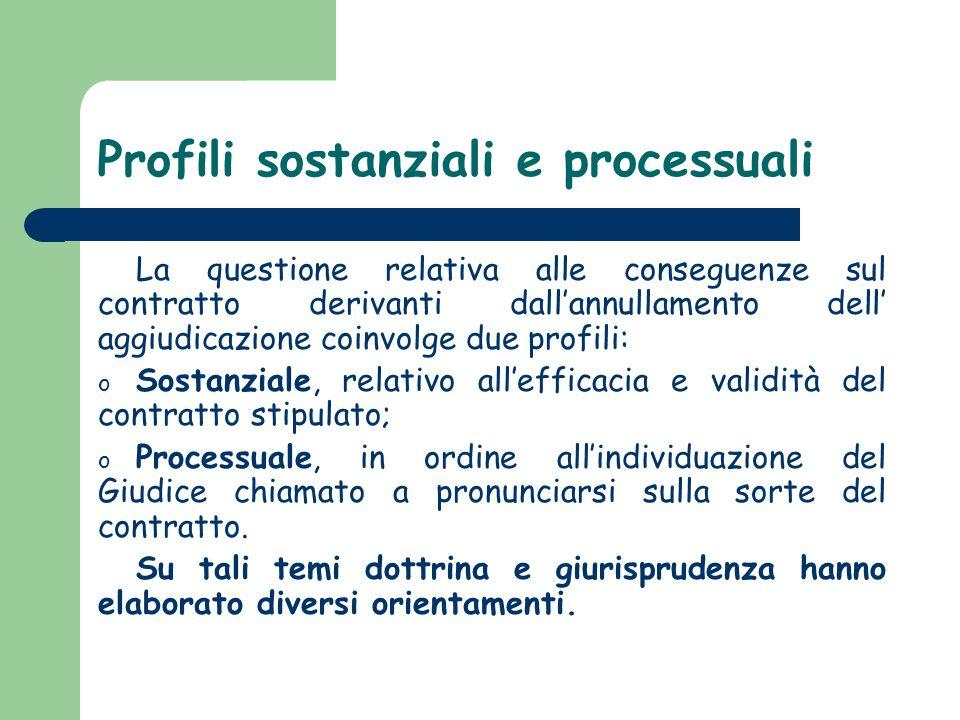 Profili sostanziali e processuali La questione relativa alle conseguenze sul contratto derivanti dall'annullamento dell' aggiudicazione coinvolge due