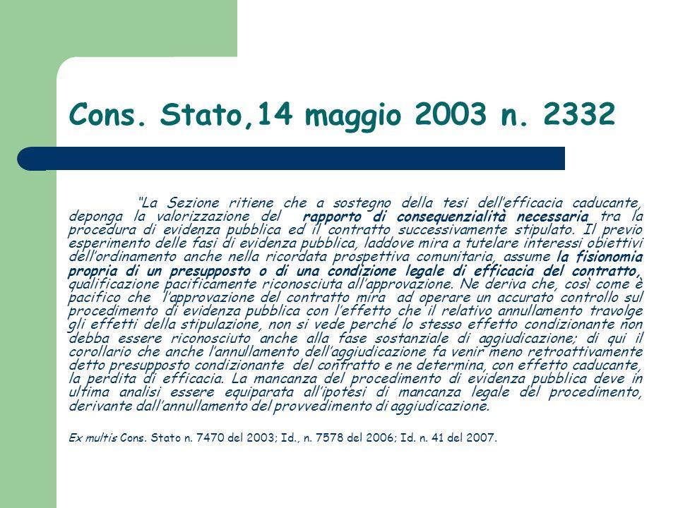 """Cons. Stato,14 maggio 2003 n. 2332 """"La Sezione ritiene che a sostegno della tesi dell'efficacia caducante, deponga la valorizzazione del rapporto di c"""