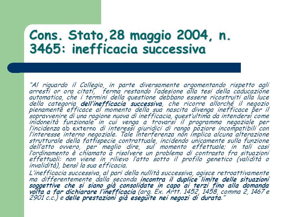 """Cons. Stato,28 maggio 2004, n. 3465: inefficacia successiva """"Al riguardo il Collegio, in parte diversamente argomentando rispetto agli arresti or ora"""