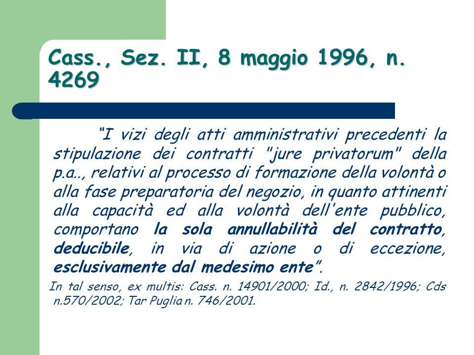 """Cass., Sez. II, 8 maggio 1996, n. 4269 """"I vizi degli atti amministrativi precedenti la stipulazione dei contratti"""