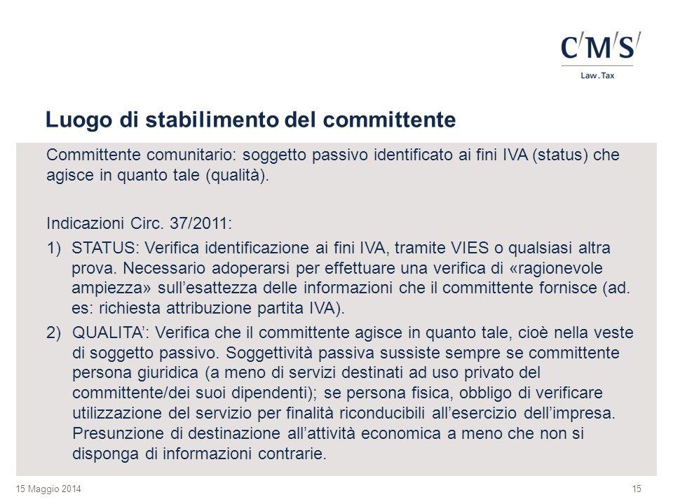 15 Maggio 2014 Luogo di stabilimento del committente Committente comunitario: soggetto passivo identificato ai fini IVA (status) che agisce in quanto tale (qualità).