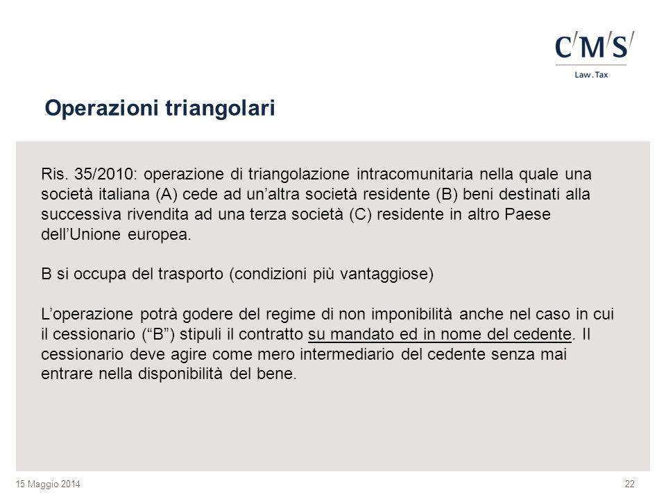 15 Maggio 2014 Operazioni triangolari 22 Ris. 35/2010: operazione di triangolazione intracomunitaria nella quale una società italiana (A) cede ad un'a