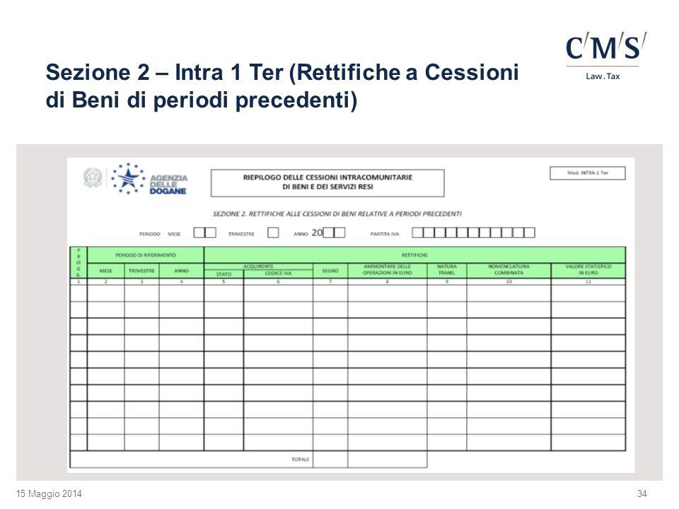 15 Maggio 2014 Sezione 2 – Intra 1 Ter (Rettifiche a Cessioni di Beni di periodi precedenti) 34