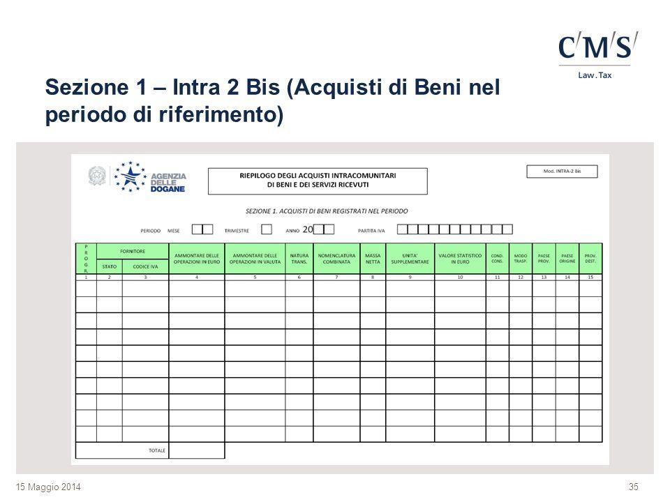 15 Maggio 2014 Sezione 1 – Intra 2 Bis (Acquisti di Beni nel periodo di riferimento) 35