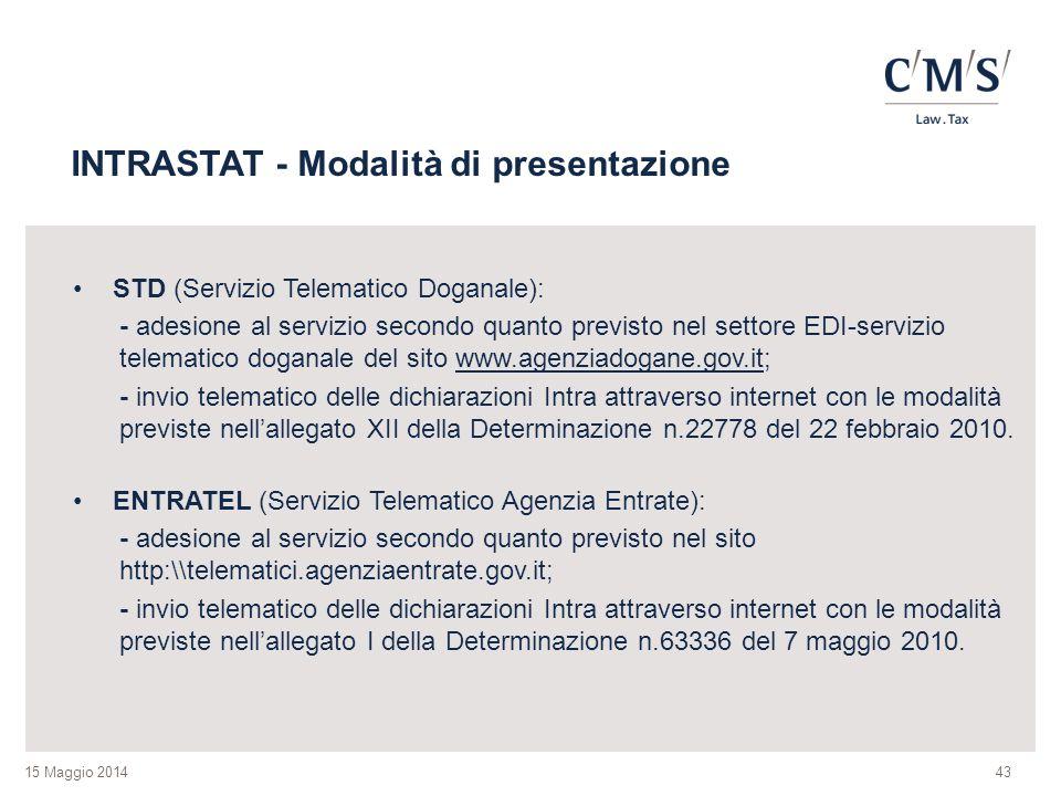 15 Maggio 2014 INTRASTAT - Modalità di presentazione STD (Servizio Telematico Doganale): - adesione al servizio secondo quanto previsto nel settore ED