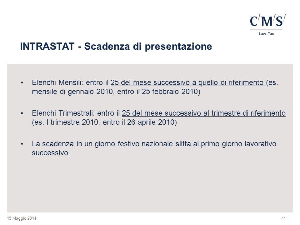 15 Maggio 2014 INTRASTAT - Scadenza di presentazione Elenchi Mensili: entro il 25 del mese successivo a quello di riferimento (es.