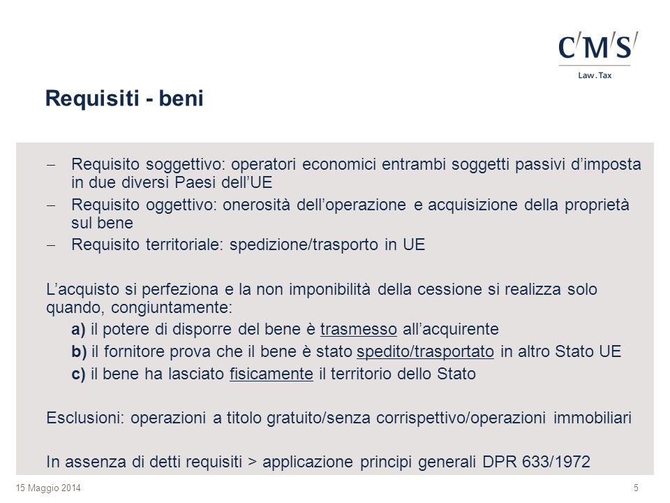 15 Maggio 2014 Requisiti - beni  Requisito soggettivo: operatori economici entrambi soggetti passivi d'imposta in due diversi Paesi dell'UE  Requisi