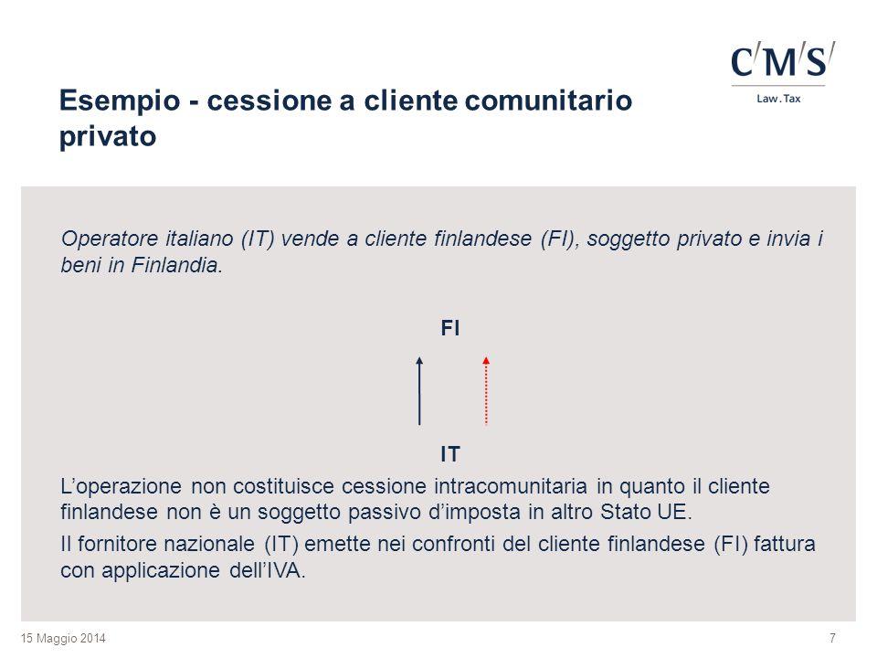 15 Maggio 2014 Esempio - cessione a cliente comunitario privato Operatore italiano (IT) vende a cliente finlandese (FI), soggetto privato e invia i beni in Finlandia.
