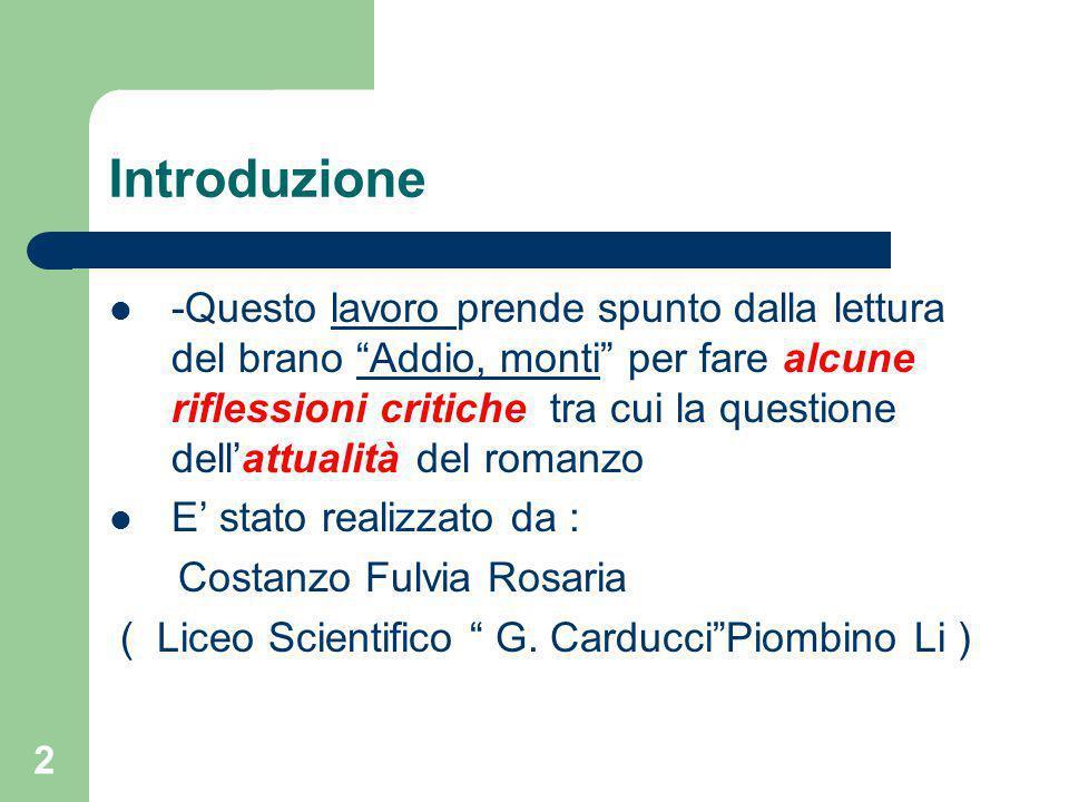 """1 da"""" I Promessi Sposi"""" di A. Manzoni Lettura e Analisi del brano """" Addio, monti"""""""