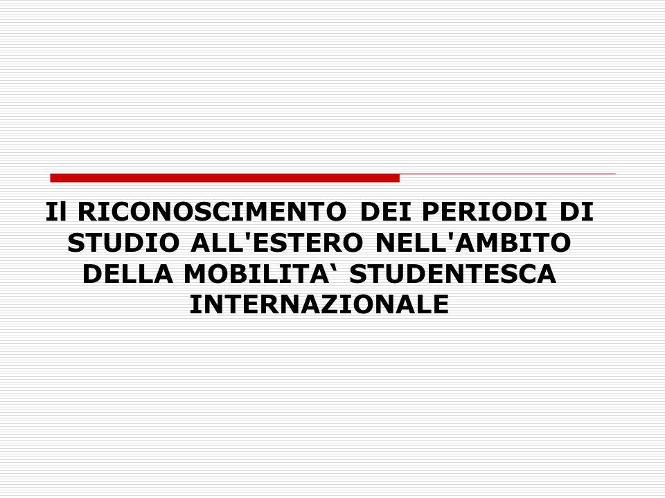 Il RICONOSCIMENTO DEI PERIODI DI STUDIO ALL ESTERO NELL AMBITO DELLA MOBILITA' STUDENTESCA INTERNAZIONALE