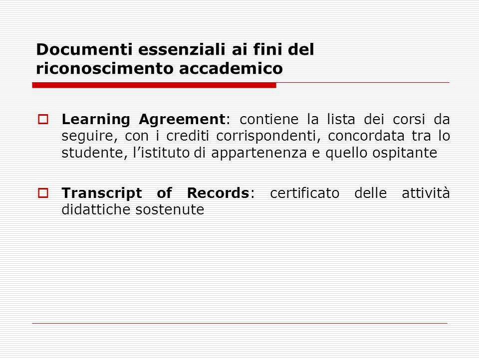 Documenti essenziali ai fini del riconoscimento accademico  Learning Agreement: contiene la lista dei corsi da seguire, con i crediti corrispondenti, concordata tra lo studente, l'istituto di appartenenza e quello ospitante  Transcript of Records: certificato delle attività didattiche sostenute