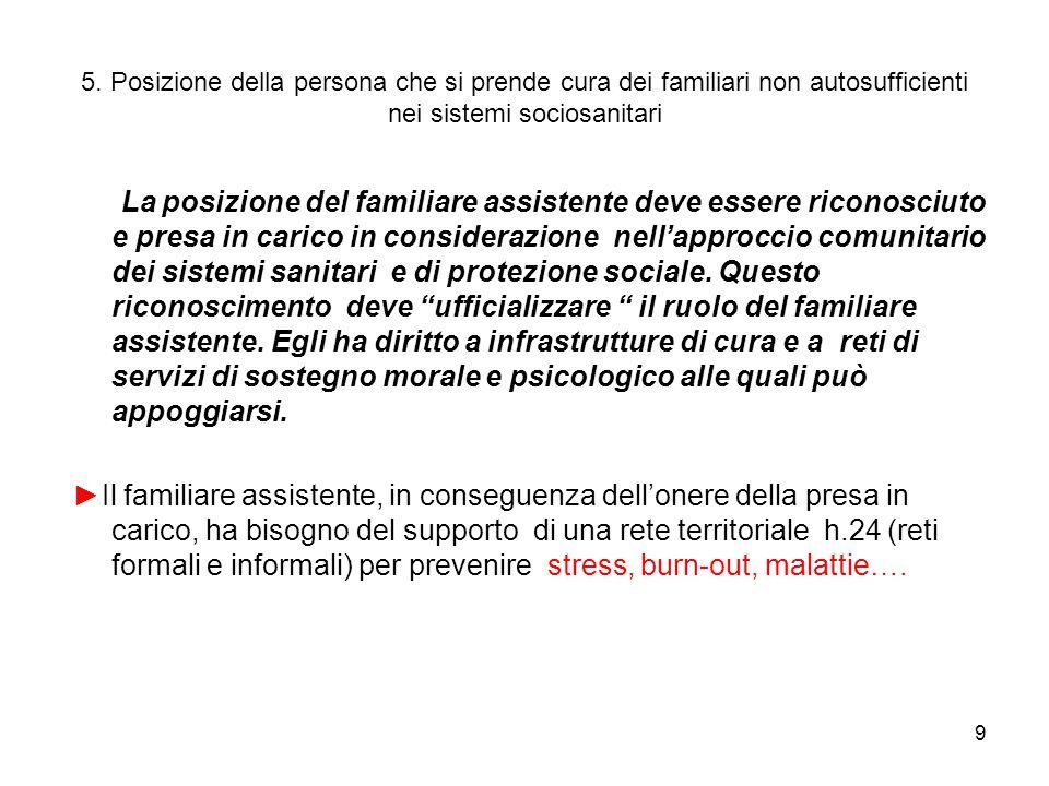 9 5. Posizione della persona che si prende cura dei familiari non autosufficienti nei sistemi sociosanitari La posizione del familiare assistente deve