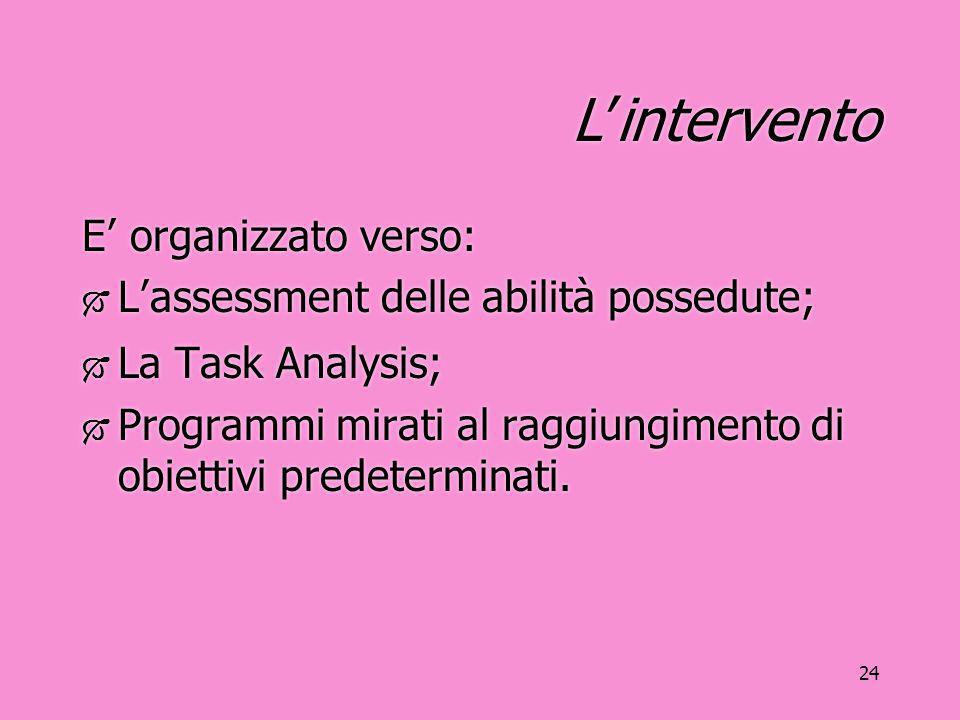 24 L'intervento E' organizzato verso:  L'assessment delle abilità possedute;  La Task Analysis;  Programmi mirati al raggiungimento di obiettivi pr