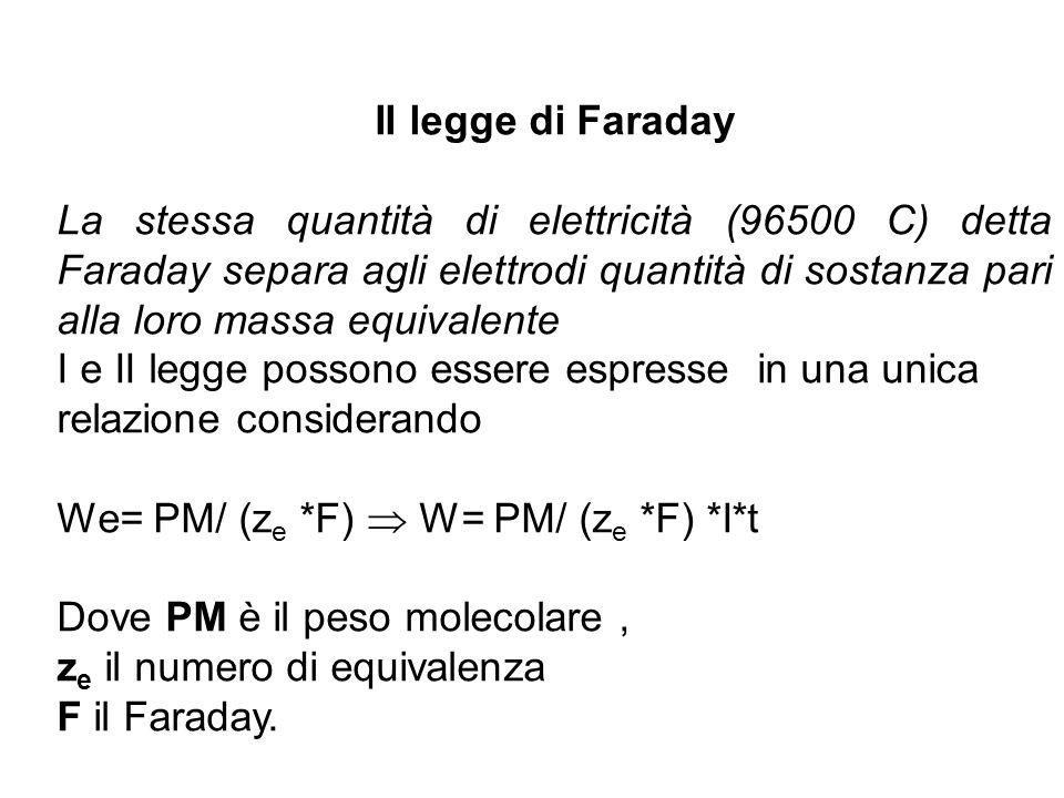 II legge di Faraday La stessa quantità di elettricità (96500 C) detta Faraday separa agli elettrodi quantità di sostanza pari alla loro massa equivalente I e II legge possono essere espresse in una unica relazione considerando We= PM/ (z e *F)  W= PM/ (z e *F) *I*t Dove PM è il peso molecolare, z e il numero di equivalenza F il Faraday.
